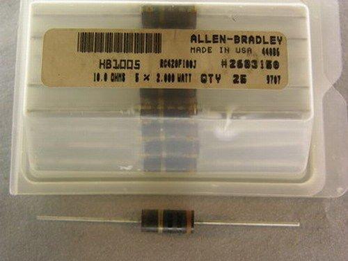 25 Allen Bradley RC42GF100J 10 Ohms 5% 2W Carbon Comp (Allen Bradley Carbon Comp Resistor)