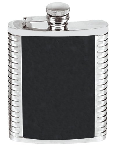 (8 Ounce Stainless Steel Hip Flask Ribbed and Leather Design Black in an Attractive Gift Box)