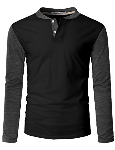 (IDARBI Men's Casual Slim Fit Raglan Baseball Long Sleeve Henley T-Shirt BLACKCHARCOAL L)