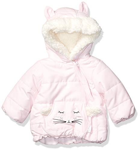 (Quiltex Girls' Toddler Sherpa Pink Kitty Hooded Puffy Jacket, Cradle, 0-3 Months)