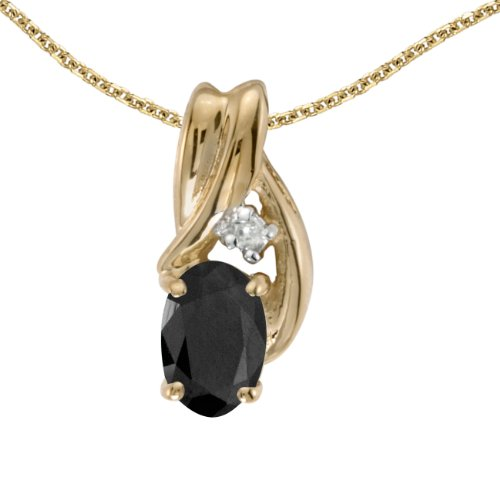 0.39 Carat (ctw) 14k Yellow Gold Oval Black Onyx and Diamond Women's Solitaire Pendant with 18