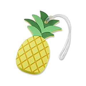 Kate Aspen Pineapple Luggage Tag, Yellow and Green