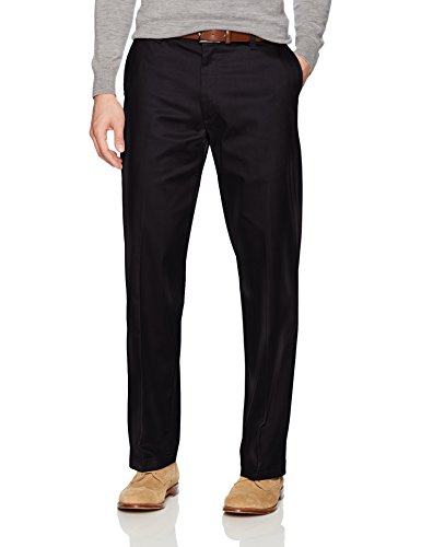 LEE Men's Total Freedom Stretch Relaxed Fit Flat Front Pant, Black, 34W x 29L