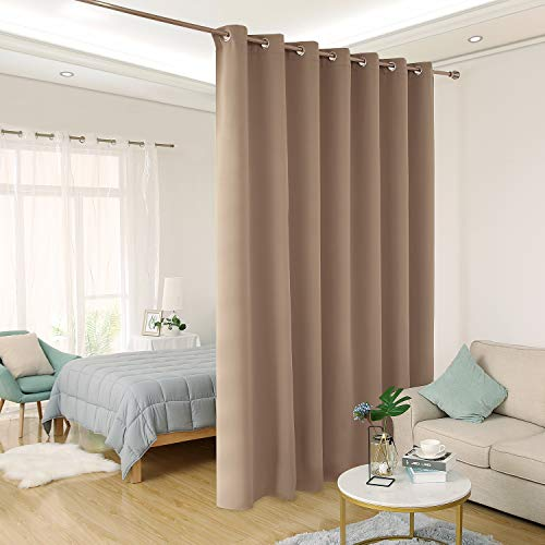 Deconovo Thermal Insulated Patio Door Curtain Panel Wide Blackout Curtain for Sliding Glass Door Room Divider Curtain, 8.3ft Wide x 7ft Tall, 1 Panel, Khaki ()