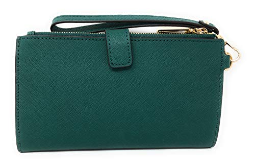 Michael Kors Jet Set Travel Double Zip Saffiano Leather Wristlet Wallet in Emerald by Michael Kors (Image #1)