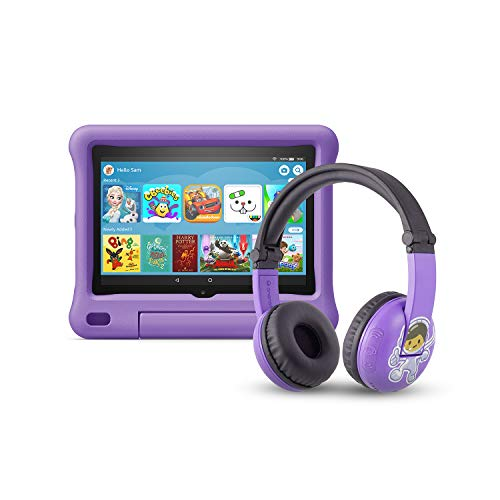 All-new Fire HD 8 Kids Edition tablet | 8″ HD display, 32 GB, Purple Kid-Proof Case + Made for Amazon Bluetooth BuddyPhones, PlayTime in Purple – Ages (3-7)
