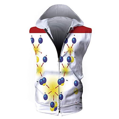 iPrint Men's Sweatshirt Vest,Educational,Nuclear Fusion Proton Neutron Chain Hydrogen C
