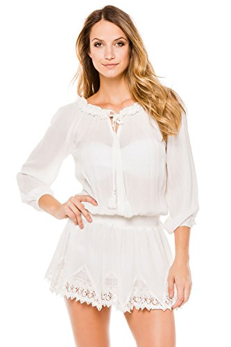 Surf Gypsy Women's Wovens Long Sleeve Dress Swim Cover Up Ivory S