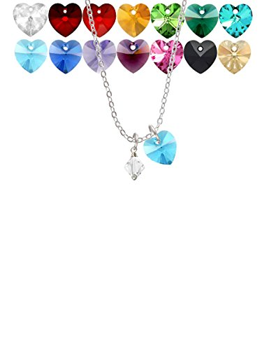 (April - Clear - 6mm Crystal Bicone Custom Crystal Heart Sophia Necklace, 18