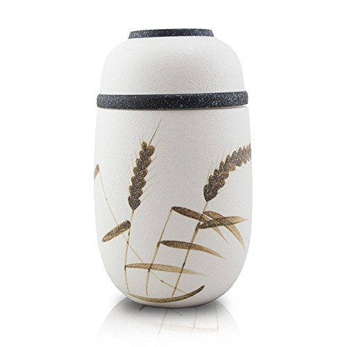 OneWorld Memorials Wheat Ceramic Cremation Urn for Dogs and Cats Medium Holds Up to 70 Cubic Inches of Ashes White Cremation Urn for Ashes Engraving Sold Separately