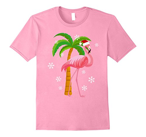 Mens Cute Pink Flamingo Santa Hat Christmas Holiday T-Shirt 3XL Pink