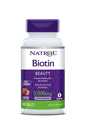Natrol Biotin Fast Dissolve Tablets, Strawberry Flavor, 5,000mcg, 90 Count
