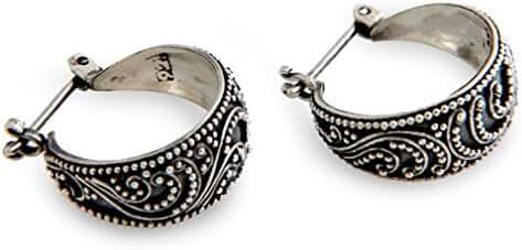 NOVICA .925 Sterling Silver Hoop Earrings, 'Moonlit Serenade'