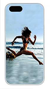 iPhone 5 5S Case Sexy Girl Running On Beach PC Custom iPhone 5 5S Case Cover White