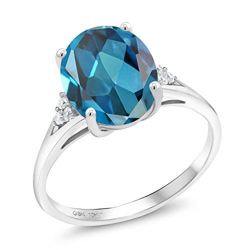London Blue Topaz and White Diamond 10K White Gold Women's Ring (4.27 Ct Oval Available in size 5, 6, 7, 8, 9) Blue Topaz & Diamond Oval Ring