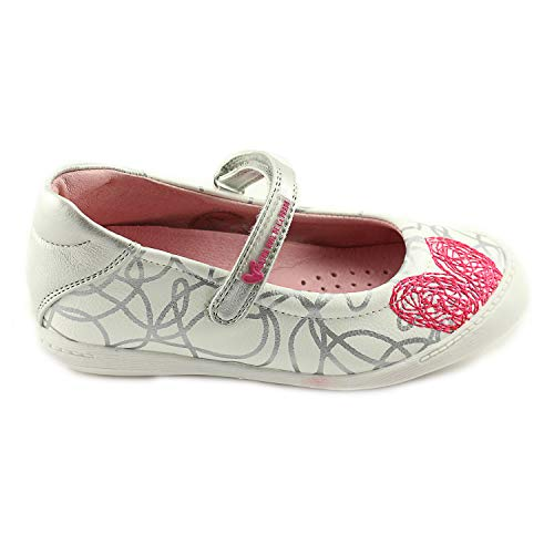 Agatha Ruiz De La Prada Girls White Mary Jane Leather Shoes with Arch and Ankle Support (162950 B-Blanco)