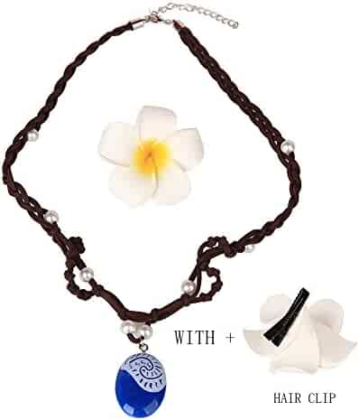 Moana-Necklace Hair Flower Clip and Necklace Set, | Cosplay Children Adults Kids Toys Princess Doll Birthday Party Supplies For Girl Gift