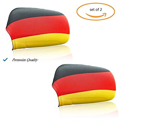 (FIFA World cup 2018 Germany car flag cover for wing Mirror (Set of 2 flag). Stretchable material made by Spandex and polyester Fits almost every cars & small SUV .installation in seconds (Germany))