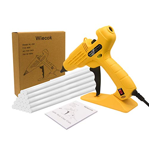 Hot Glue Gun, Wiecok Full Size 60W Heavy Duty Hot Glue Gun with Replace Nozzle and 10 Pcs Glue Sticks 11 200mm, with LED Light Power Switch, for DIY, Arts & Crafts, Home and Office Quick Repairs