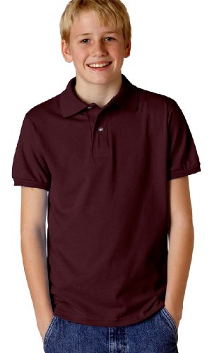 Jerzees Youth 5.6 oz., 50/50 Jersey Polo with SpotShield S MAROON
