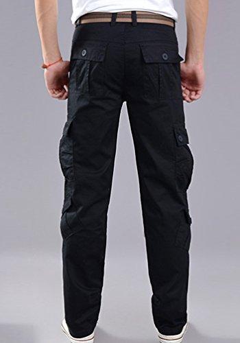 Con Pantaloni Fit Sentao Slim Tasconi Uomo Nero Cargo Workwear vwaHYaq