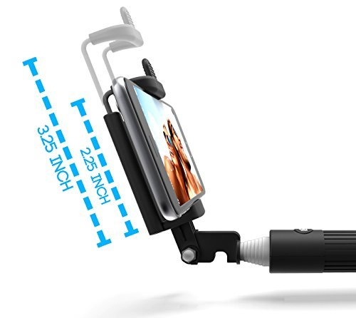 Kiwii Selfie Stick with built-in Remote Shutter with Adjusta
