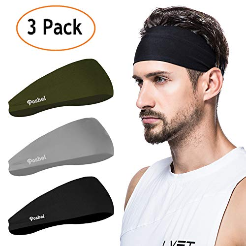 poshei Mens Headband (3 Pack), Mens Sweatband & Sports Headband for Running, Crossfit, Cycling, Yoga, Basketball - Stretchy Moisture Wicking Unisex ()