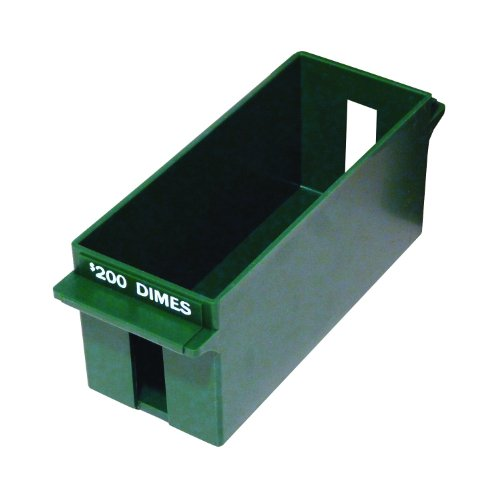 (MMF Industries Porta-Count Extra-Capacity Rolled Coin Dime Storage Tray, 3.19 x 3.63 x 9.125 Inches, 200 Dollar Capacity, Green (212071002))