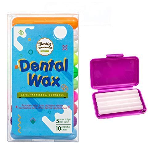 Dental Orthodontic Wax for braces and oral appliances, relieves irritation and pain, Odorless, Tasteless, (10 -Pack, 50 strips total) ()