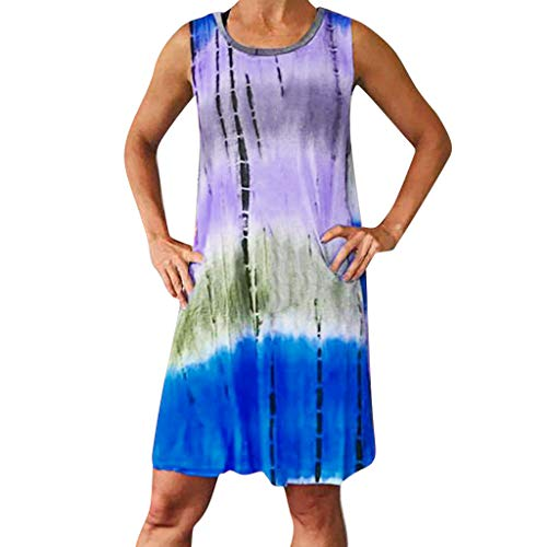 Sunhusing Women's Summer Casual Round Neck Colorblock Tie-Dyed Print Sexy Sleeveless Mini A-Line Dress Blue