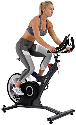 Sunny Health Fitness Asuna 7130 Lancer Cycle Exercise Bike – Magnetic Belt Drive Commercial Indoor Cycling Bike with SPD Style Cage Pedals, 285 LB Max Weight and Low Q-Factor