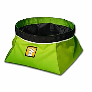 Ruffwear Quencher Collapsible Waterproof Travel Dog Bowl, Lichen Green, Medium