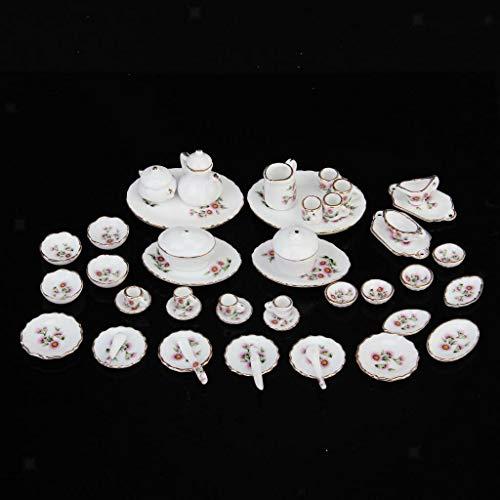 NATFUR 50pcs New Dollhouse Miniature Dining Ware Flower Porcelain Tea Dishes Coffee Set