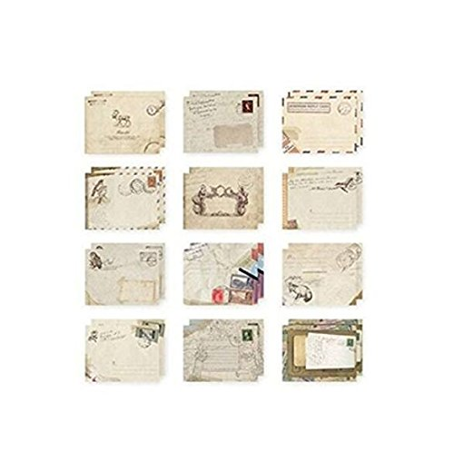 (9.57.2cm Set of 12 Vintage Mini/Small European Style Airmail Envelope for Greeting Cards )