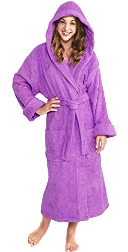 PARADOR Hooded Terry Bathrobe Unisex, 100% Combed Pure Turkish Cotton, Made in Turkey,Grape,One Size Fits Most (Pure Cotton Terry Bathrobe)