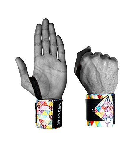 Elastic Wrist Wraps - 18 Inch Pair for Fitness, Powerlifting, Bodybuilding, Weight Lifting, Cross-Training Wrist Supports for Weight Training - with Hook and Loop Grip (Diamond)