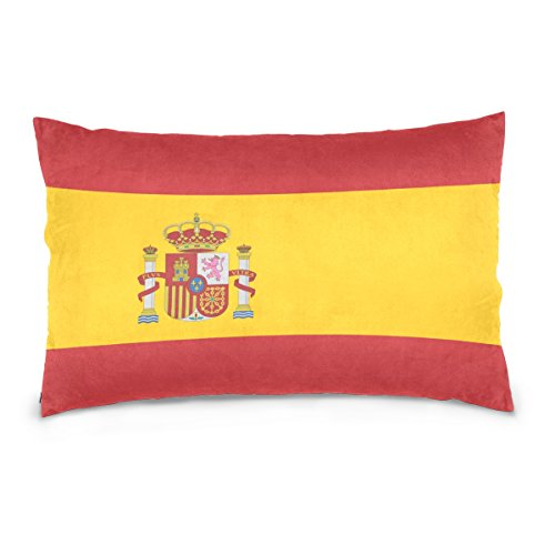Top Carpenter Spain Flag Velvet Oblong Lumbar Plush Throw Pillow Cover/Shams Cushion Case - 20x26in - Decorative Invisible Zipper Design for Couch Sofa Pillowcase Only by Top Carpenter