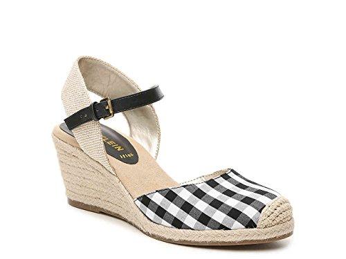 Anne Klein Ardine Espadrille Wedge Sandal Black/White Plaid 7.5 M