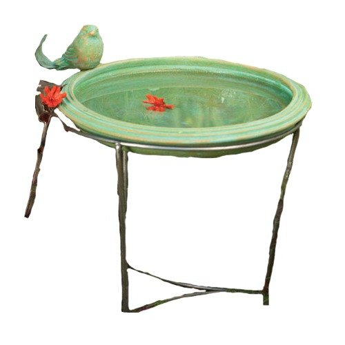 Ancient Graffiti Ceramic Teal Round Standing Bird Bath Ancient Graffiti Bird Bath