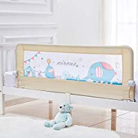 59 Inch Toddler Bed Rail Baby Bed Rail Guard Extra Long Safety Foldable Bedrail Animal Park Theme Including 1 Pc Safety Belt (Beige Color)