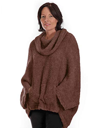 Mission Cocoon Alpaca Wool Bouclé Pullover, Oversized, Snuggly, Poncho Style Sweater Cowl Neck (Walnut, P-XS-S)