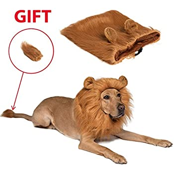 9e275bc00c Dog Lion Mane Dog Wig - Pet Costumes for Large Dogs and Medium Dogs -  Adjustable Pet Costume Lion Wig for Halloween with Gift - Lion Tail