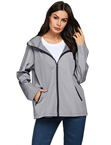 LOMON Rain Jacket Women Lightweight Waterproof Packable Hooded Outdoor Raincoat(Gray,S) ()