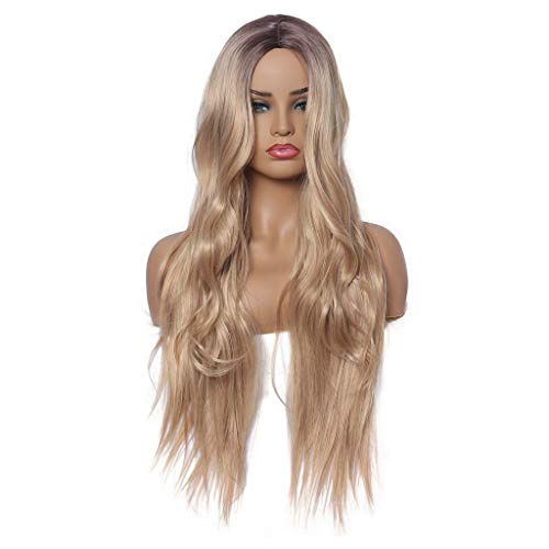 - Gold Full Long Curly Wavy Hair Wig Heat Resistant Wig for Music Festival Theme Parties Wedding Concerts Dating Cosplay More (a)