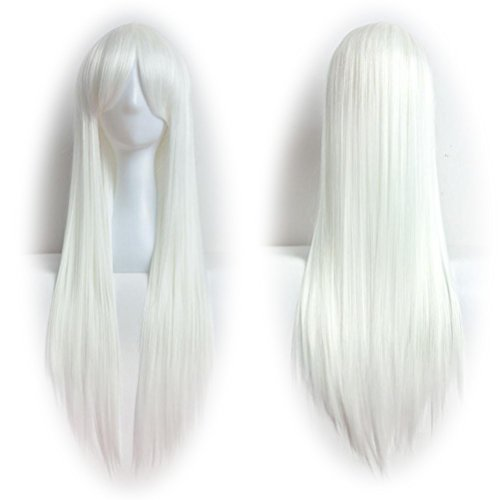 Short White Beard Costume (DEESEE(TM) 80cm Full Wig Long Straight Wig Cosplay Party Costume Hair Cosplay wig (White))