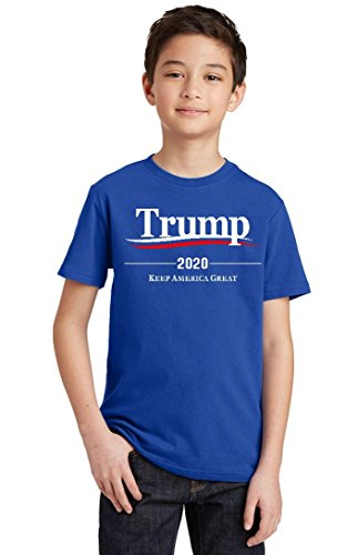 (Promotion & Beyond Trump 2020 Keep America Great Wavy Youth T-Shirt, Youth M, Royal)
