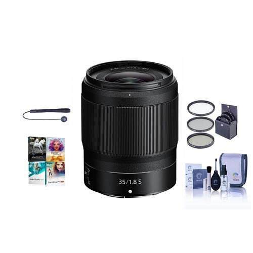 Nikon NIKKOR Z 35mm f/1.8 S Lens for Z Series Mirrorless Cameras - Bundle with 62mm Filter Kit, Cleaning Kit, Capleash II, Pc Software Package