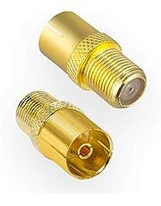 HB-DIGITAL SAT-antenne-adapter: F-aansluiting (satelliet DVB-S/S2 aansluiting vrouwelijk) naar IEC-aansluiting (kabeltelevisie DVB-C, terrestrische DVB-T2 aansluiting vrouwelijk) coaxiale tv-connector verguld