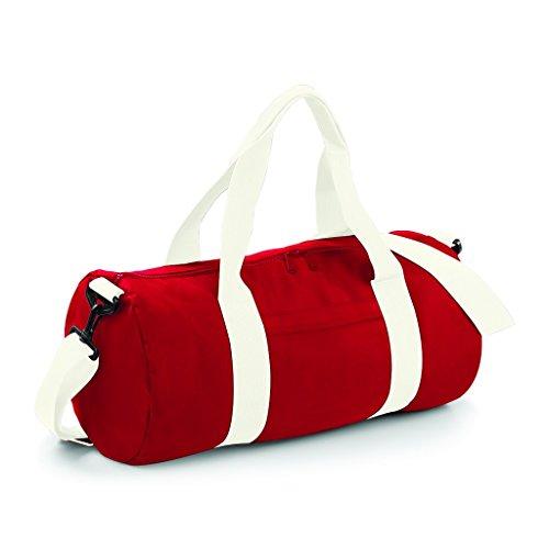 Barrel Bag Black Unisex's White Classic Off BG140BKBK Red Medium BagBase Original xItaRIqT