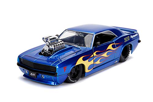 Jada 1969 Chevrolet Camaro with Blower Candy Blue and Yellow Flames Bigtime Muscle Series 1/24 Diecast Model Car 30708 (Bigtime Muscle Cars)
